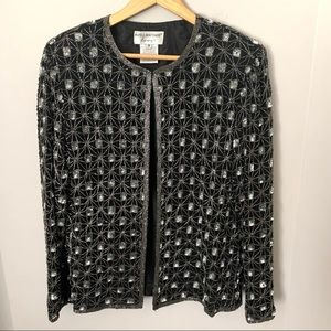 Papell Boutique 100% Silk Beaded Jacket